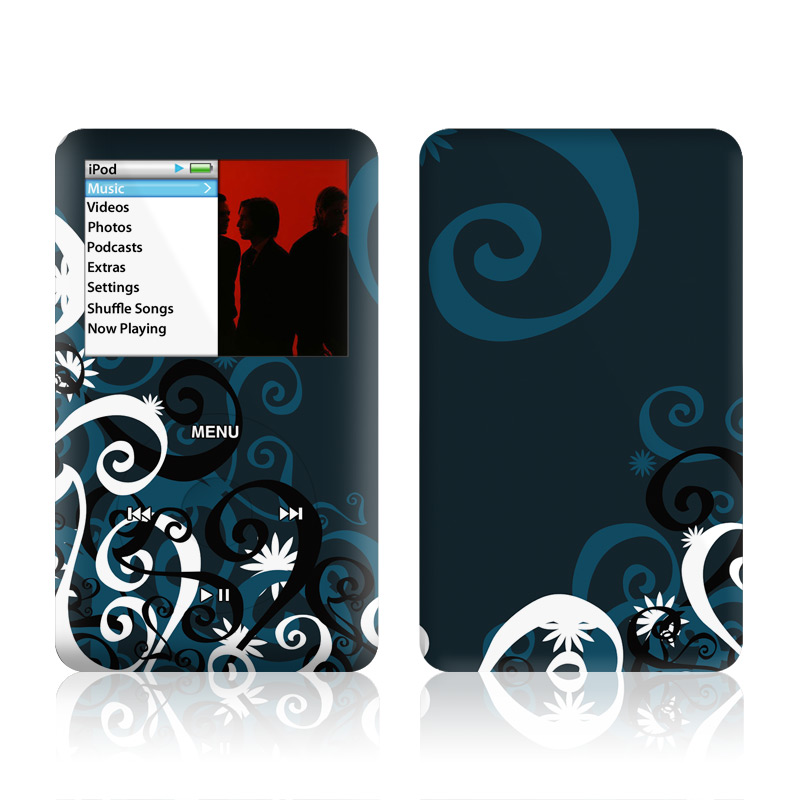 iPod classic Skin design of Blue, Aqua, Pattern, Turquoise, Text, Teal, Font, Graphic design, Design, Azure with black, white, gray colors