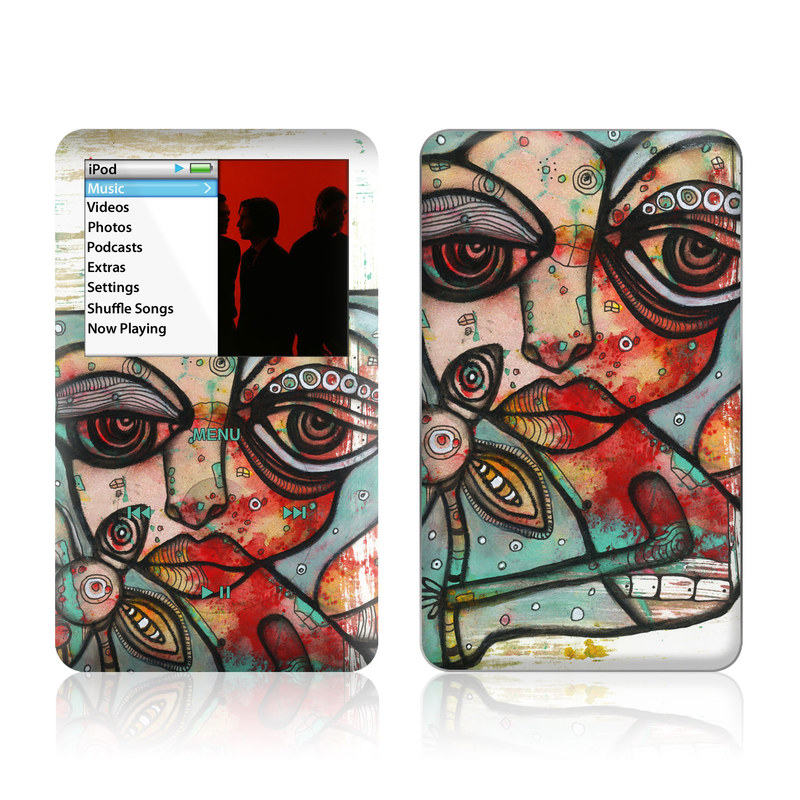 iPod classic Skin design of Modern art, Art, Painting, Illustration, Visual arts, Psychedelic art, Acrylic paint, Watercolor paint, Graffiti, Drawing with gray, black, red, green, blue, white colors