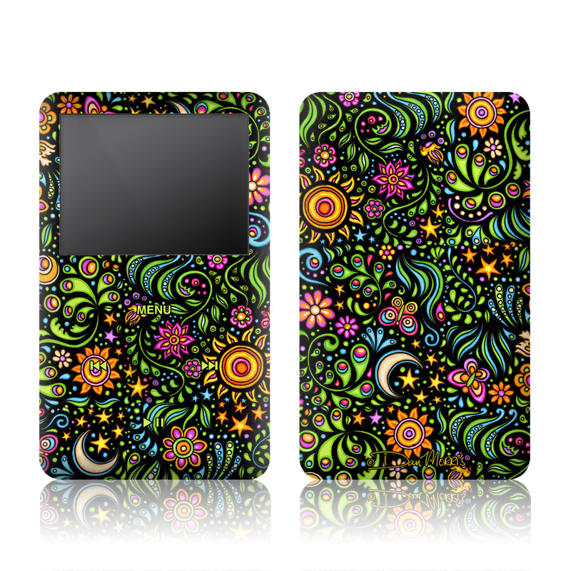 iPod classic Skin design of Pattern, Psychedelic art, Visual arts, Art, Design, Motif, Organism, Circle, Textile, Plant with black, red, green, blue, purple colors