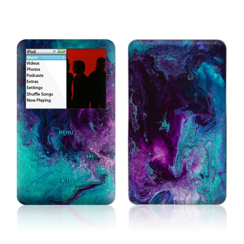 iPod classic Skin design of Blue, Purple, Violet, Water, Turquoise, Aqua, Pink, Magenta, Teal, Electric blue with blue, purple, black colors
