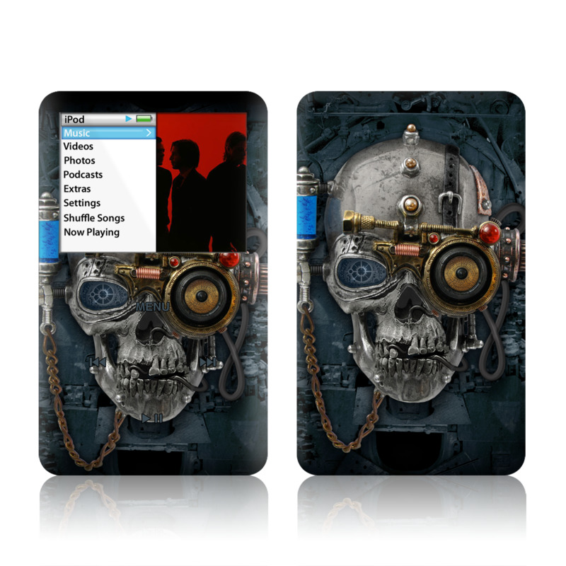 iPod classic Skin design of Engine, Auto part, Still life photography, Personal protective equipment, Illustration, Automotive engine part, Art with black, gray, red, green colors