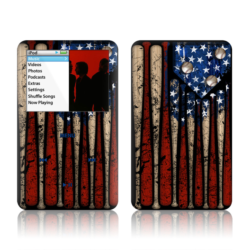 iPod classic Skin design of Baseball bat, Baseball equipment with black, red, gray, green, blue colors