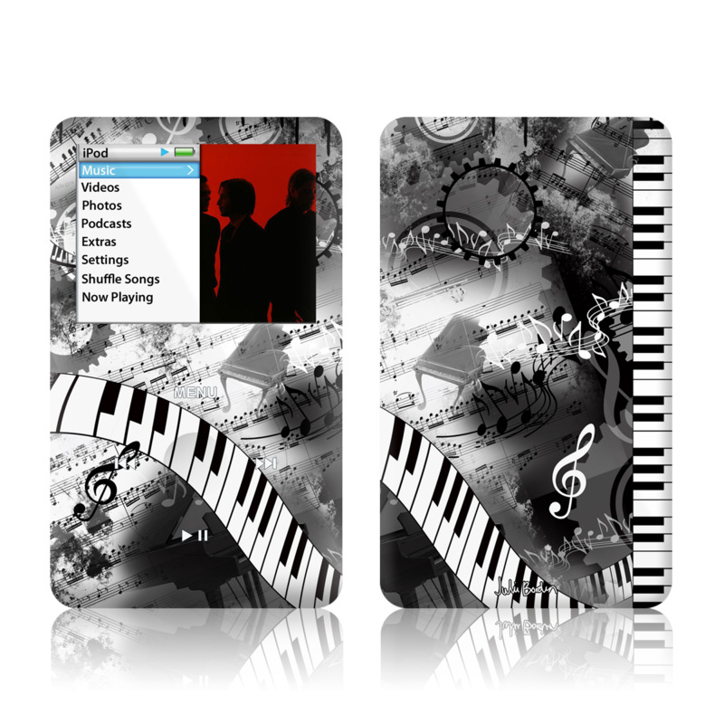 iPod classic Skin design of Music, Monochrome, Black-and-white, Illustration, Graphic design, Musical instrument, Technology, Musical keyboard, Piano, Electronic instrument with black, gray, white colors