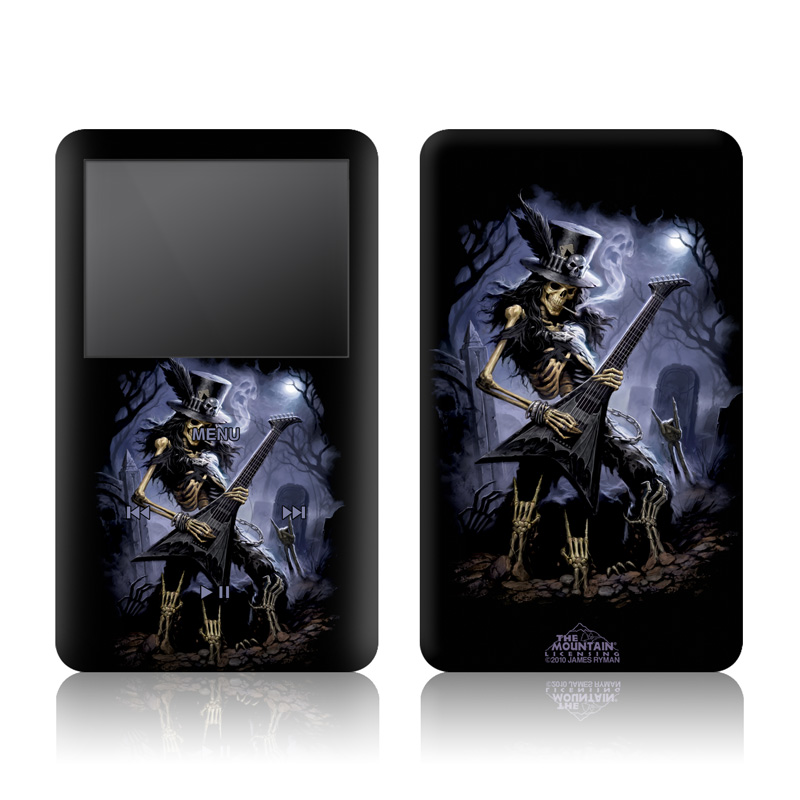iPod classic Skin design of Fictional character, Cg artwork, Darkness, Guitarist, Illustration, Woman warrior with black, gray, blue colors