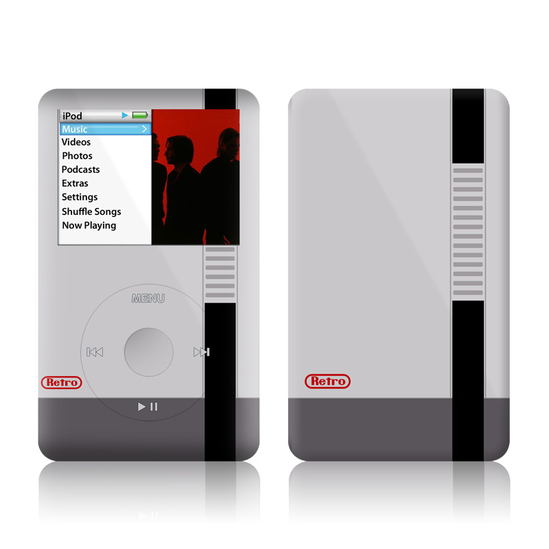iPod classic Skin design of Text, Font, Red, Product, Logo, Brand, Material property, Graphics, Rectangle with gray, black, red colors