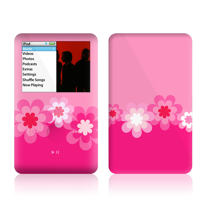 Retro Pink Flowers iPod classic Skin