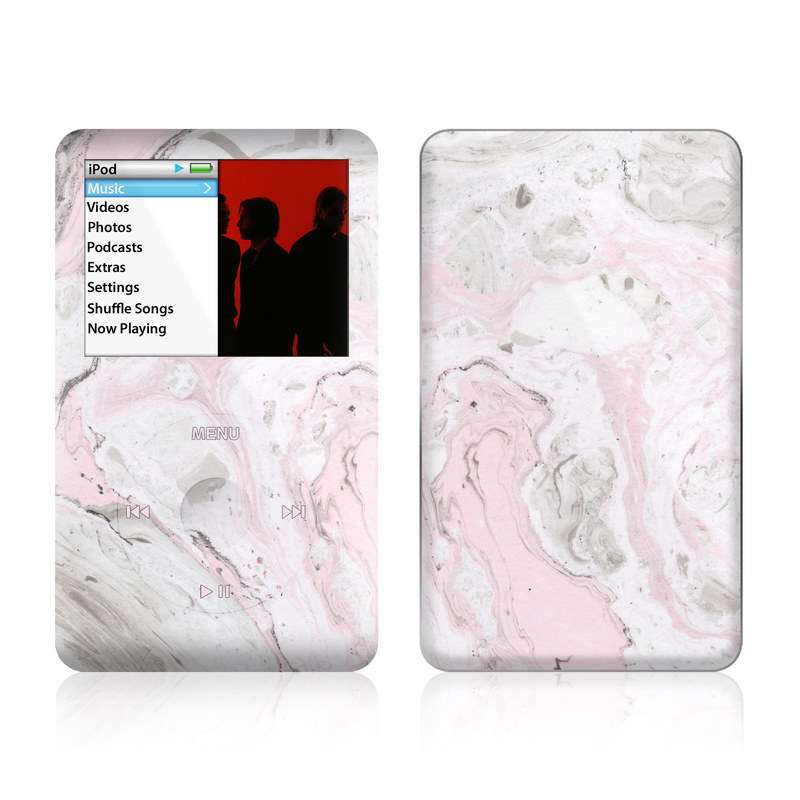 iPod classic Skin design of White, Pink, Pattern, Illustration with pink, gray, white colors