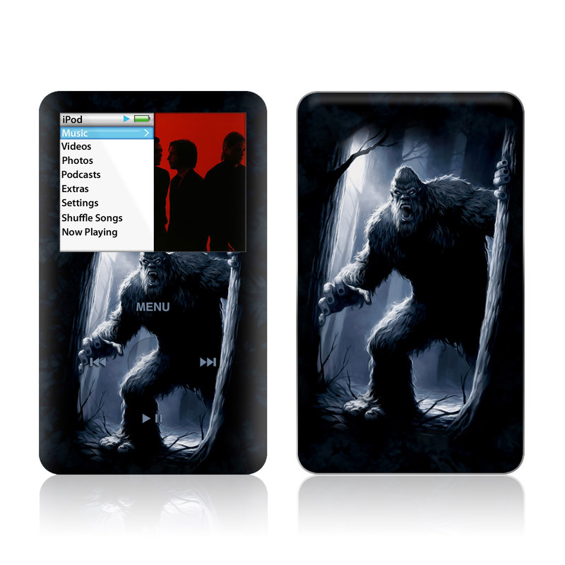 iPod classic Skin design of Darkness, Werewolf, Primate, Fictional character, Mythical creature, Cg artwork with black, gray, blue colors