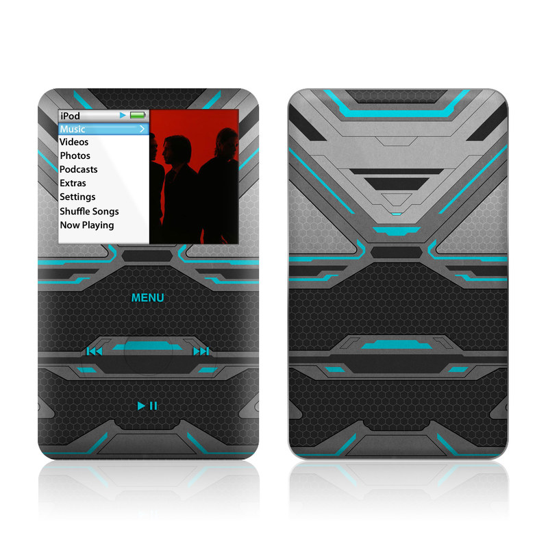 iPod classic Skin design of Blue, Turquoise, Pattern, Teal, Symmetry, Design, Line, Automotive design, Font with black, gray, blue colors