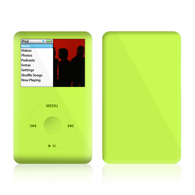 iPod classic Skin design of Green, Yellow, Text, Leaf, Font, Grass with green colors