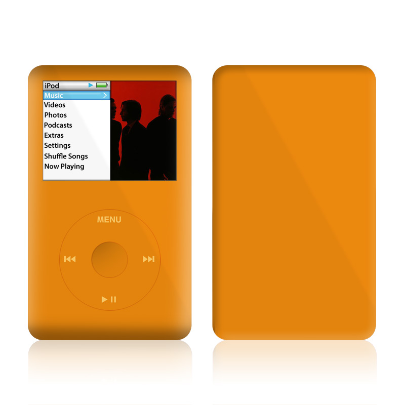 iPod classic Skin design of Orange, Yellow, Brown, Text, Amber, Font, Peach with orange colors