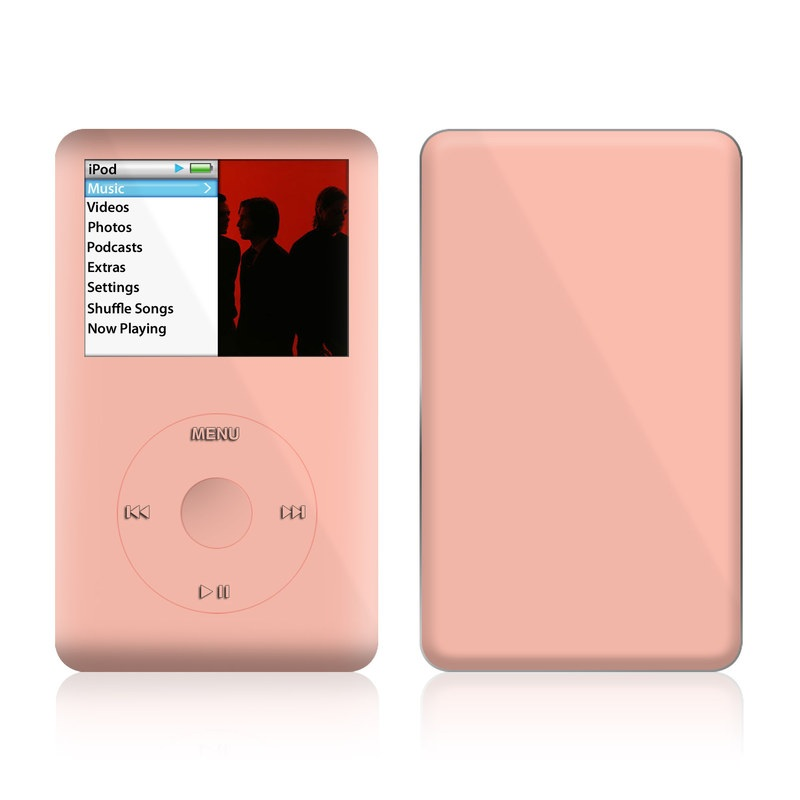 iPod classic Skin design of Orange, Pink, Peach, Brown, Red, Yellow, Material property, Font, Beige with pink colors