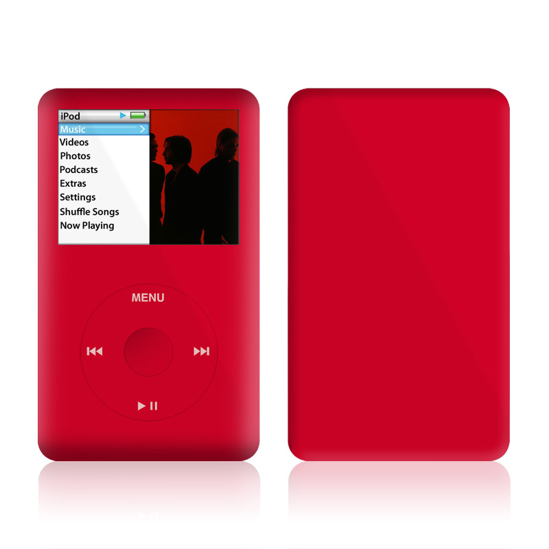 iPod classic Skin design of Red, Pink, Maroon, Purple, Orange, Violet, Magenta, Material property, Font, Peach with red colors