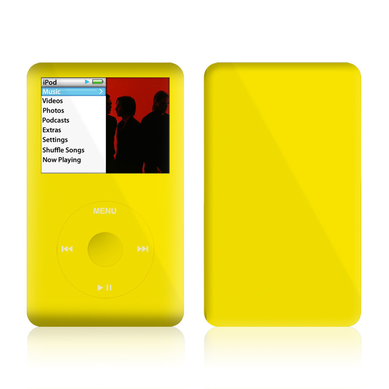 iPod classic Skin design of Green, Yellow, Orange, Text, Font with yellow colors