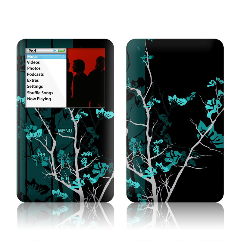 iPod classic Skin design of Branch, Black, Blue, Green, Turquoise, Teal, Tree, Plant, Graphic design, Twig with black, blue, gray colors