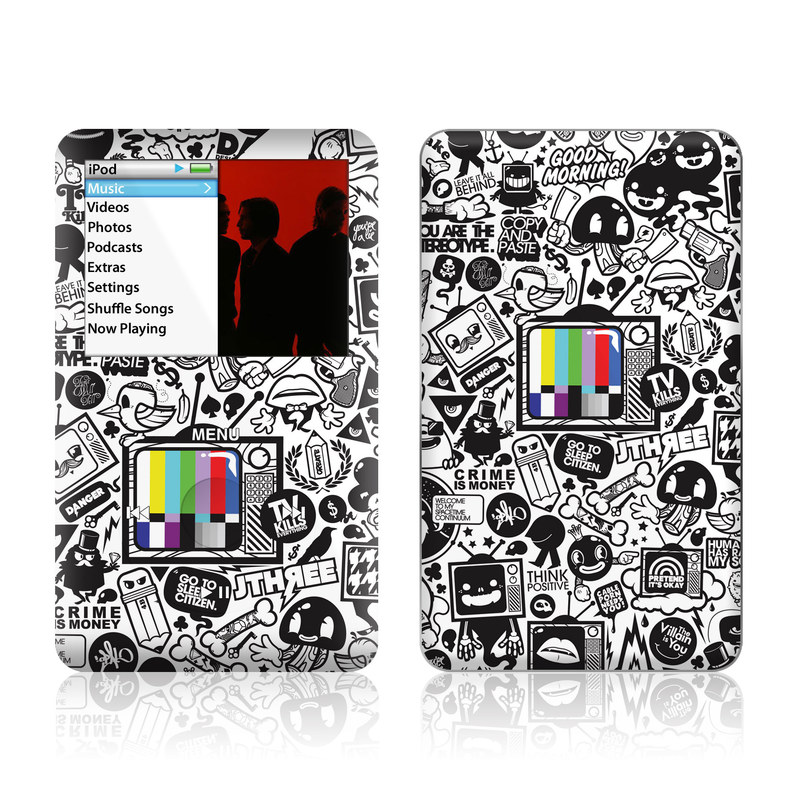 iPod classic Skin design of Pattern, Drawing, Doodle, Design, Visual arts, Font, Black-and-white, Monochrome, Illustration, Art with gray, black, white colors