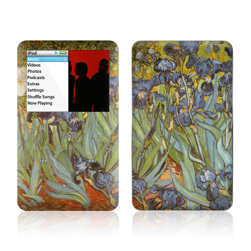 iPod classic Skin design of Painting, Plant, Art, Flower, Iris, Modern art, Perennial plant with gray, green, black, red, blue colors