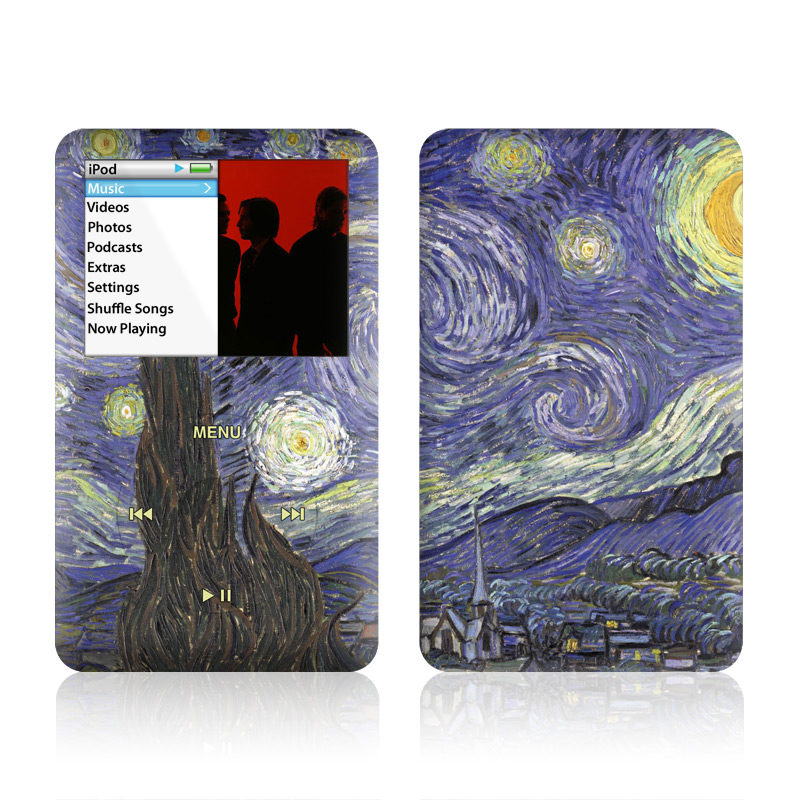 iPod classic Skin design of Painting, Purple, Art, Tree, Illustration, Organism, Watercolor paint, Space, Modern art, Plant with gray, black, blue, green colors