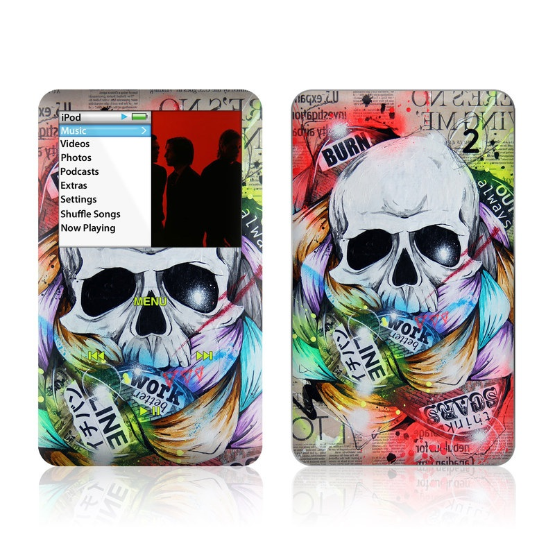 iPod classic Skin design of Street art, Text, Graphic design, Font, Illustration, Art, Graffiti, Skull, Poster, Advertising with gray, black, red, green, blue colors