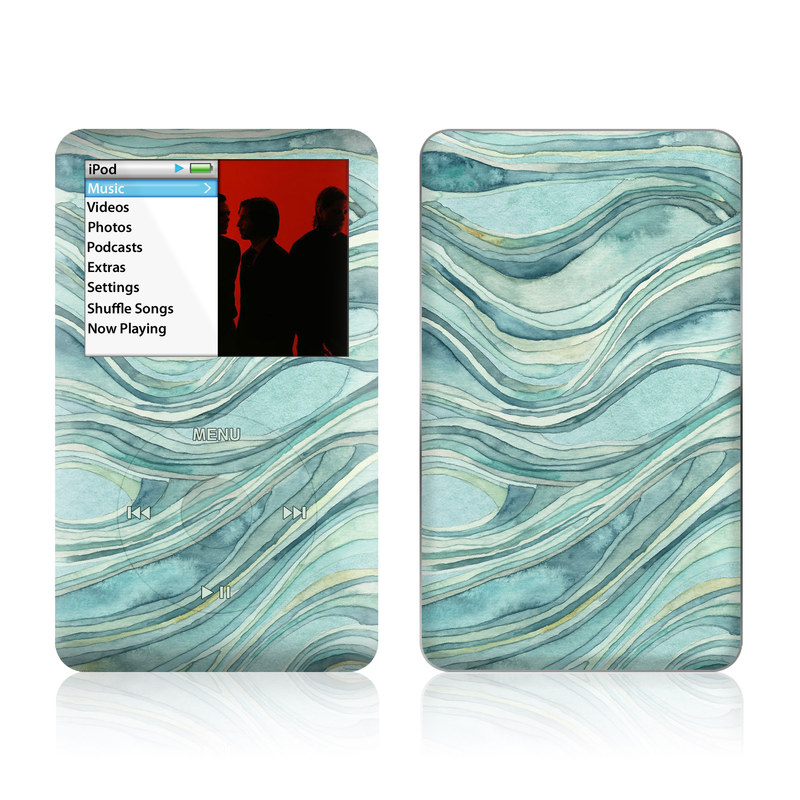 iPod classic Skin design of Aqua, Blue, Pattern, Turquoise, Teal, Water, Design, Line, Wave, Textile with gray, blue colors