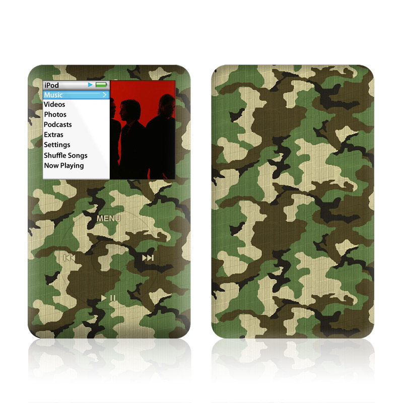 iPod classic Skin design of Military camouflage, Camouflage, Clothing, Pattern, Green, Uniform, Military uniform, Design, Sportswear, Plane with black, gray, green colors