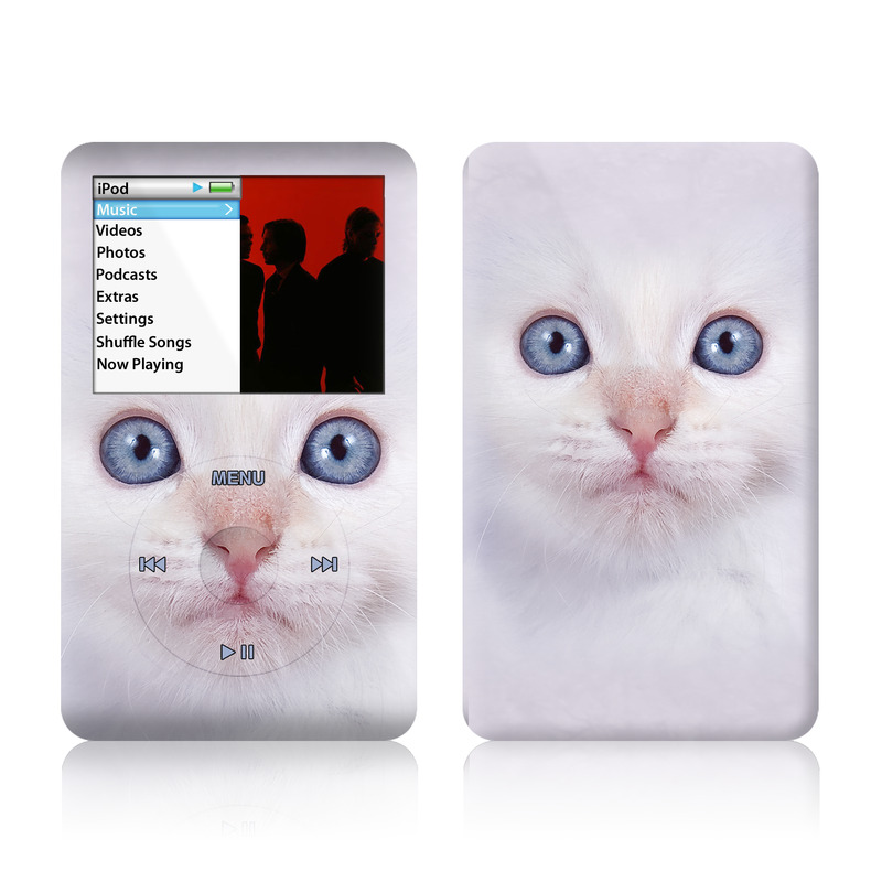 iPod classic Skin design of Cat, Whiskers, Face, Nose, Felidae, Small to medium-sized cats, Eye, Skin, Snout, Head with gray, purple, black colors