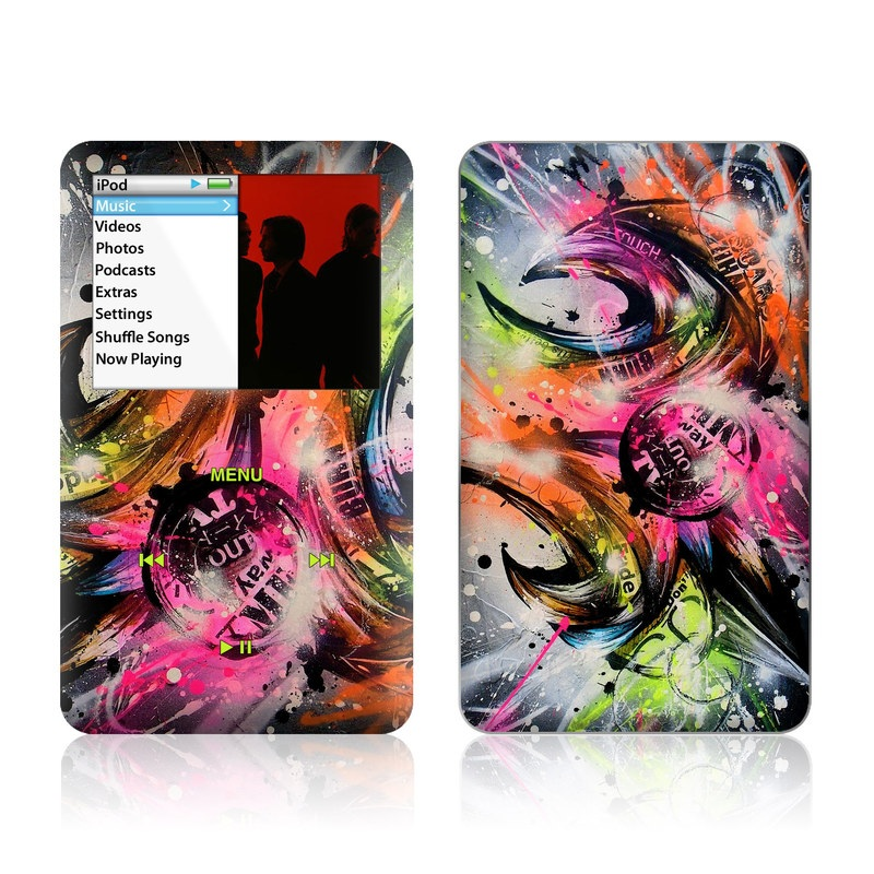 iPod classic Skin design of Graphic design, Fractal art, Art, Illustration, Design, Graphics, Cg artwork, Font, Visual arts, Pattern with black, gray, red, green, purple, blue colors