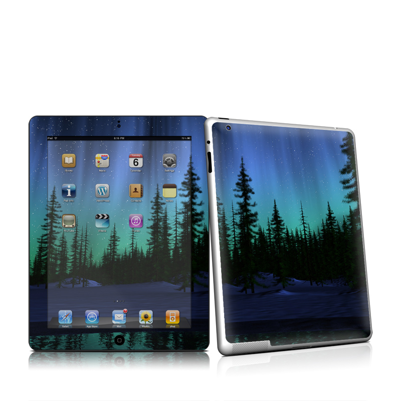 iPad 2nd Gen Skin design of Aurora, Nature, Sky, shortleaf black spruce, Natural landscape, Tree, Wilderness, Natural environment, Biome, Spruce-fir forest with blue, purple, green, black colors