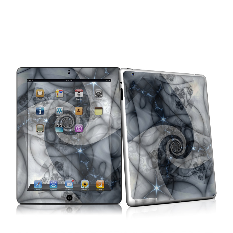 iPad 2nd Gen Skin design of Eye, Drawing, Black-and-white, Design, Pattern, Art, Tattoo, Illustration, Fractal art with black, gray colors