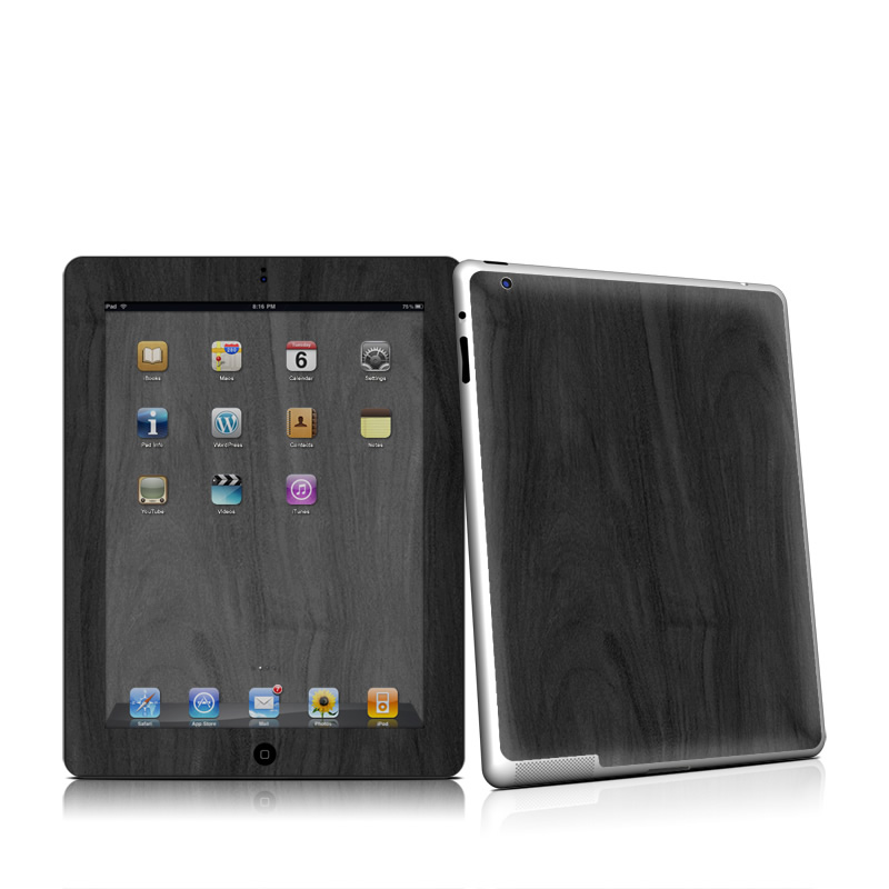 Black Woodgrain Apple iPad 2 Skin