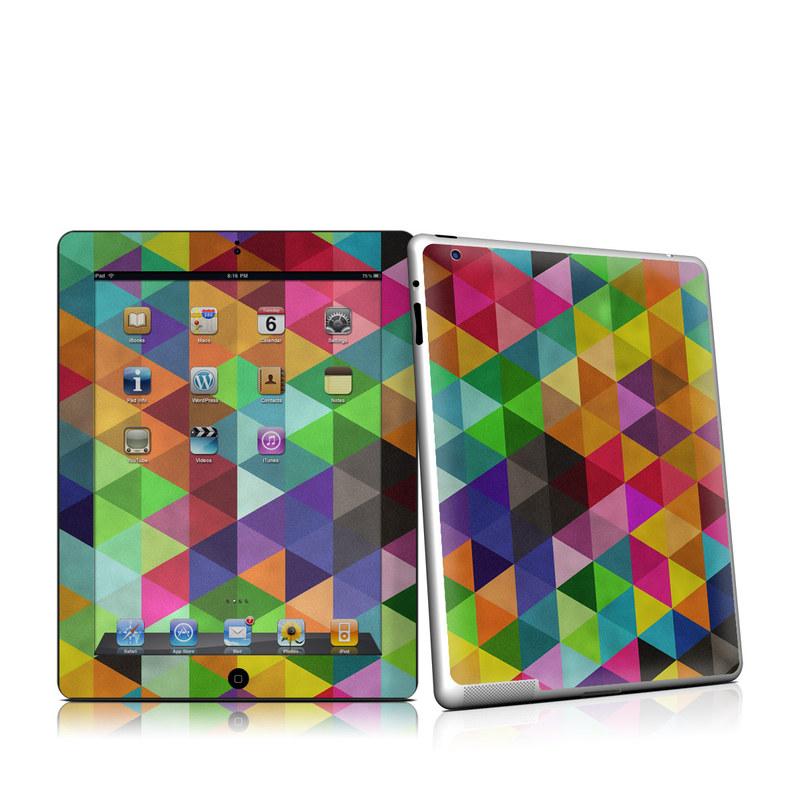 iPad 2nd Gen Skin design of Pattern, Orange, Purple, Violet, Triangle, Magenta, Line, Design, Psychedelic art, Colorfulness with black, red, green, blue colors