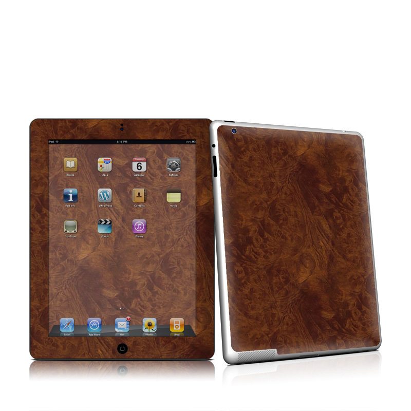 Dark Burlwood Apple iPad 2 Skin