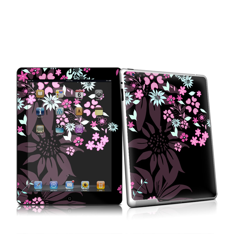 Dark Flowers Apple iPad 2 Skin