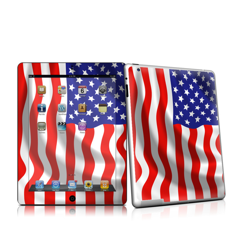 iPad 2nd Gen Skin design of Flag of the united states, Flag, Flag Day (USA), Veterans day, Independence day, Memorial day, Holiday with gray, red, blue, black, white colors