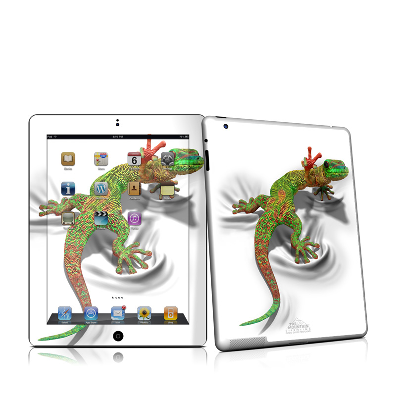 iPad 2nd Gen Skin design of Lizard, Reptile, Gecko, Scaled reptile, Green, Iguania, Animal figure, Wall lizard, Fictional character, Iguanidae with white, gray, black, red, green colors