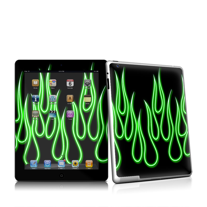 Green Neon Flames Apple iPad 2 Skin