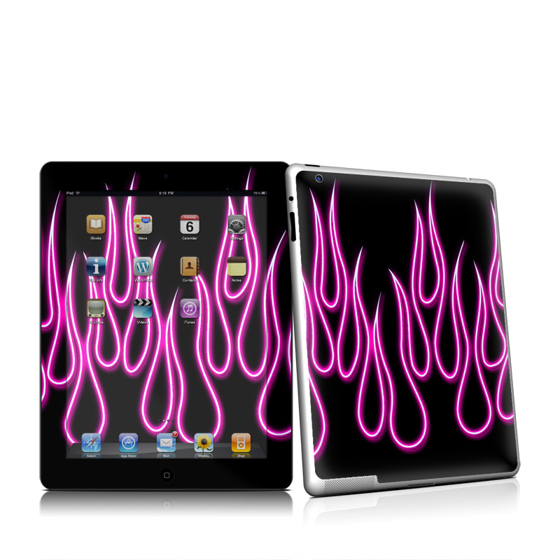 Pink Neon Flames Apple iPad 2 Skin