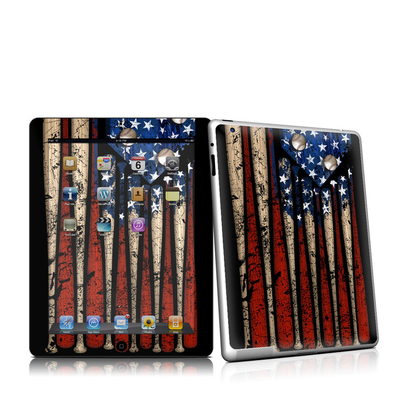iPad 2nd Gen Skin design of Baseball bat, Baseball equipment with black, red, gray, green, blue colors