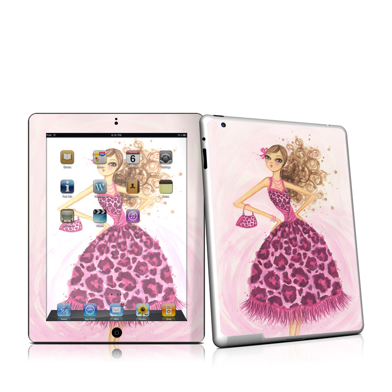 iPad 2nd Gen Skin design of Pink, Doll, Dress, Fashion illustration, Barbie, Fashion design, Illustration, Gown, Costume design, Toy with pink, gray, red, purple, green colors