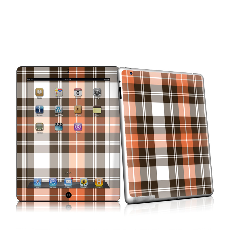 Copper Plaid Apple iPad 2 Skin