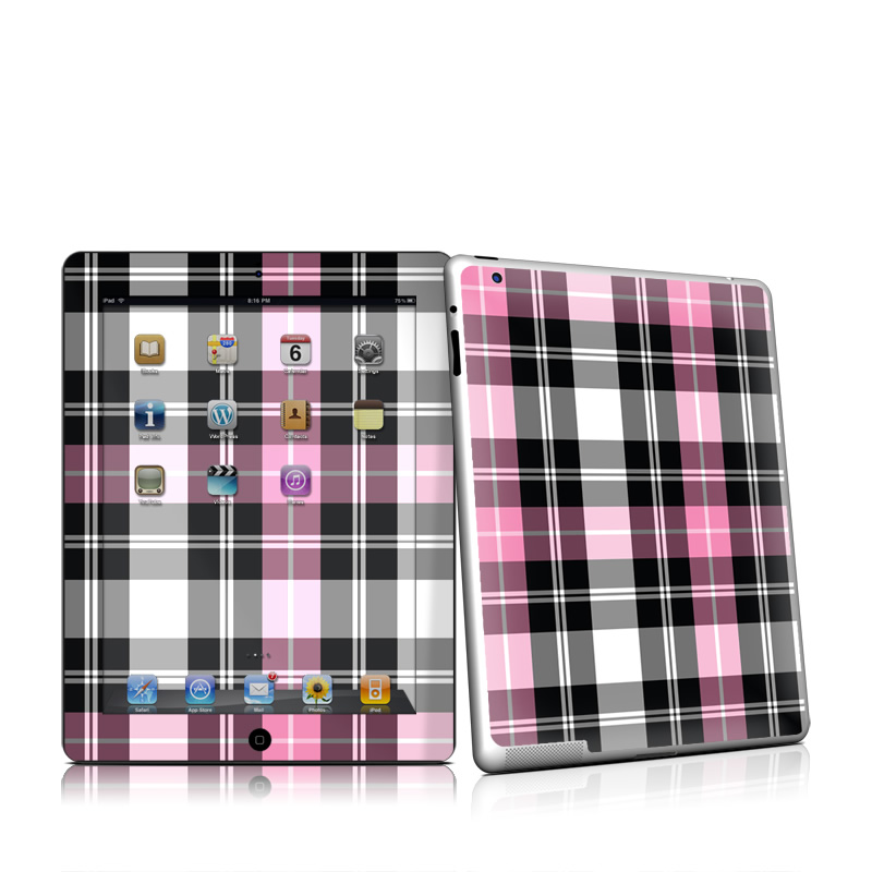 Pink Plaid Apple iPad 2 Skin
