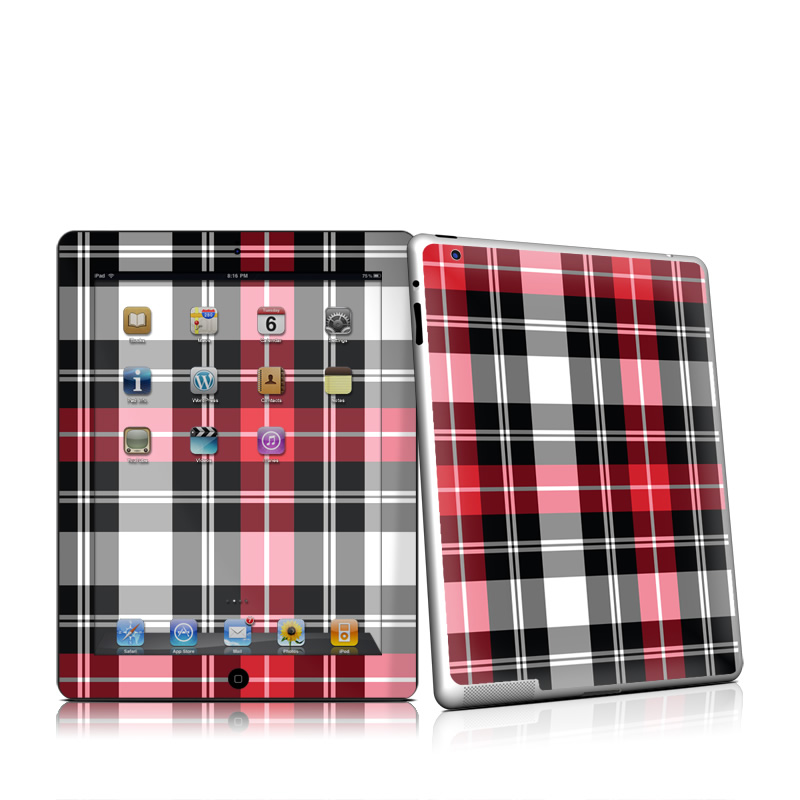 Red Plaid Apple iPad 2 Skin