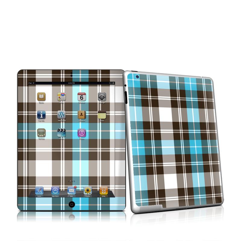 Turquoise Plaid Apple iPad 2 Skin