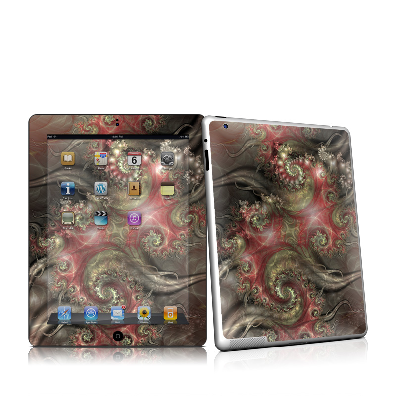 iPad 2nd Gen Skin design of Fractal art, Cg artwork, Art, Organism, Illustration, Pattern, Graphic design, Design, Visual arts, Graphics with black, red, green, gray colors