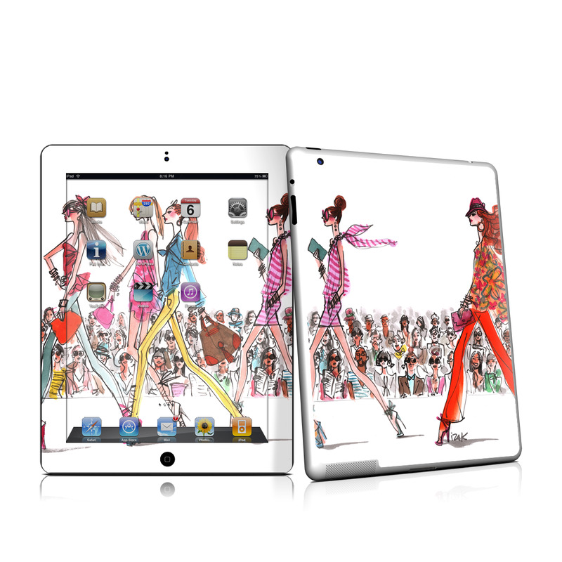 iPad 2nd Gen Skin design of Costume design, Illustration, Fashion design, Fashion illustration, Art, Style with white, gray, red, black, green, pink colors