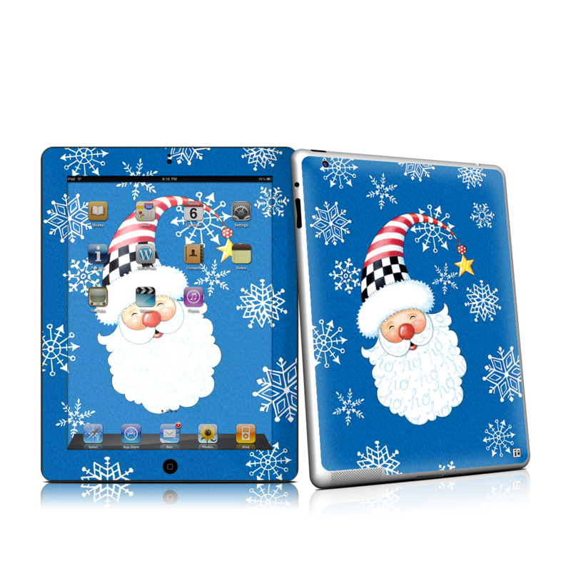 iPad 2nd Gen Skin design of Christmas, Santa claus, Christmas eve, Fictional character with blue, white, gray, purple colors