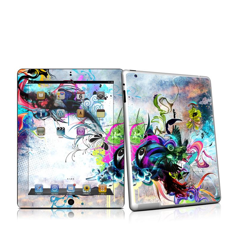iPad 2nd Gen Skin design of Graphic design, Psychedelic art, Art, Illustration, Purple, Visual arts, Graffiti, Street art, Design, Painting with gray, black, blue, green, purple colors