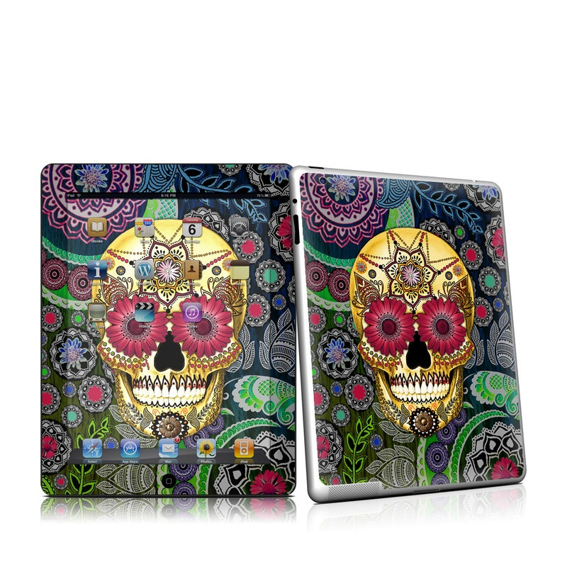 iPad 2nd Gen Skin design of Skull, Bone, Pattern, Psychedelic art, Visual arts, Design, Illustration, Art, Textile, Plant with black, red, gray, green, blue colors
