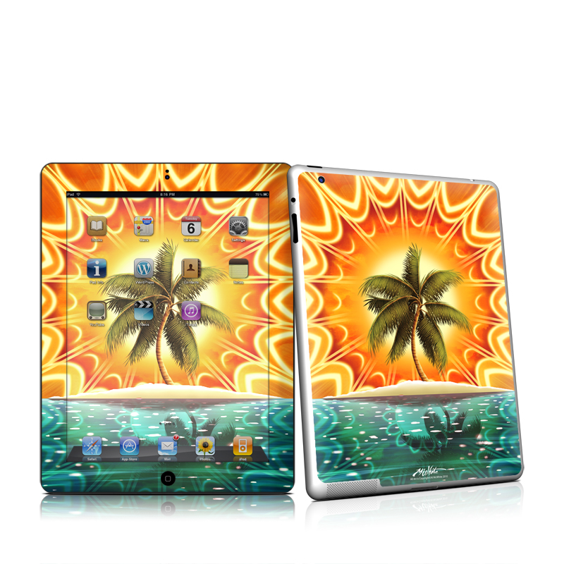 iPad 2nd Gen Skin design of Nature, Palm tree, Orange, Water, Arecales, Tropics, Tree, Calm, Plant, Landscape with orange, black, green, red, gray, blue colors