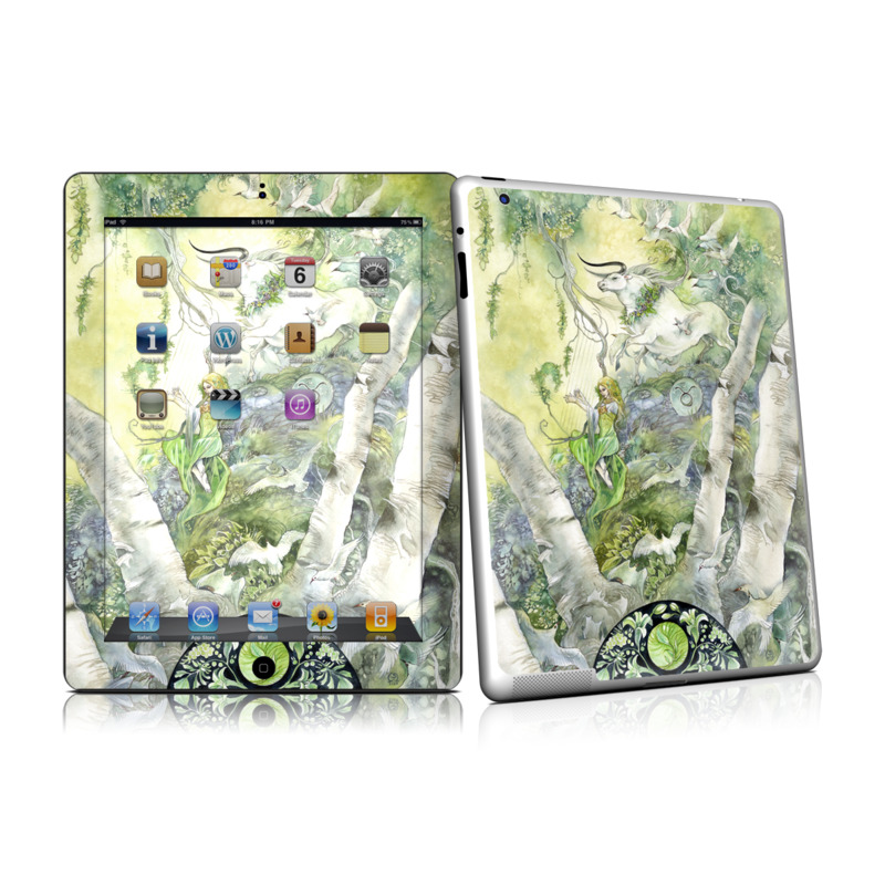 iPad 2nd Gen Skin design of Watercolor paint, Tree, Illustration, Plant, Art, Painting, Paint with gray, green, black, yellow colors